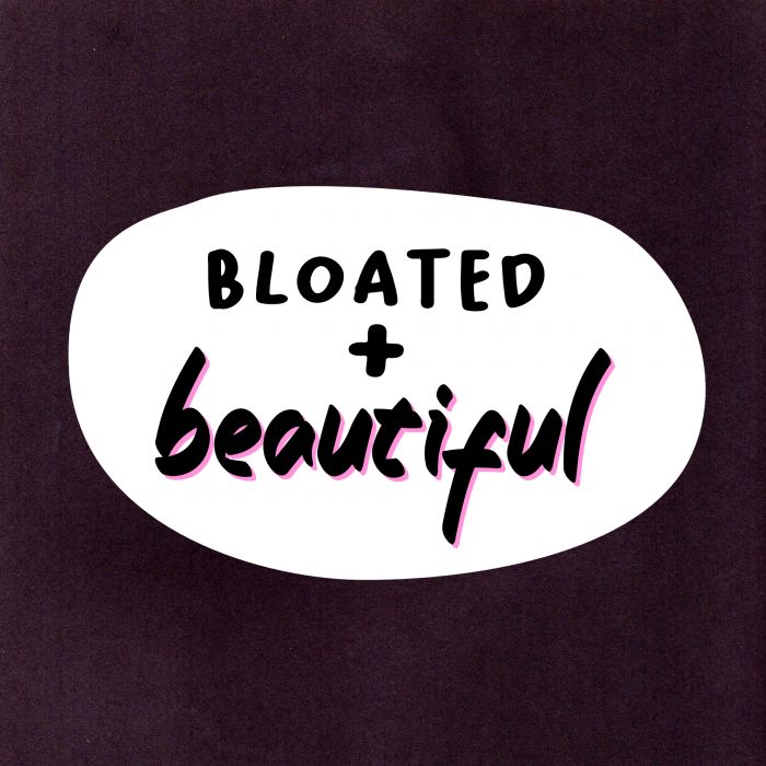 """Vinyl sticker that says """"bloated and beautiful"""""""